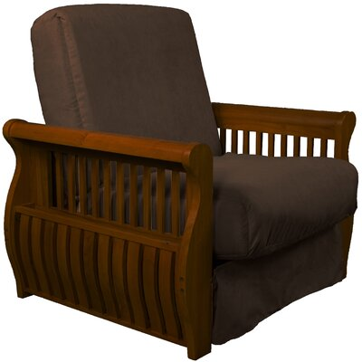 Concord Futon Chair Finish: Walnut, Upholstery: Chocolate Brown