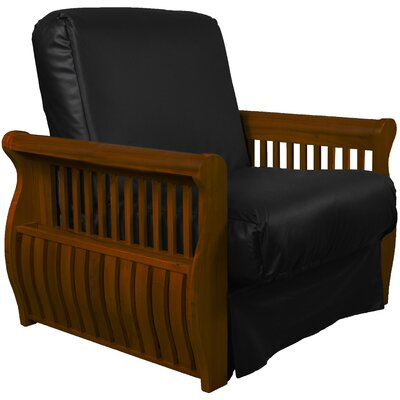 Concord Futon Chair Upholstery: Black, Finish: Walnut