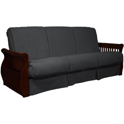 Concord Suede Sit N Sleep Futon and Mattress Frame Finish: Mahogany, Size: Queen, Upholstery: Slate Gray