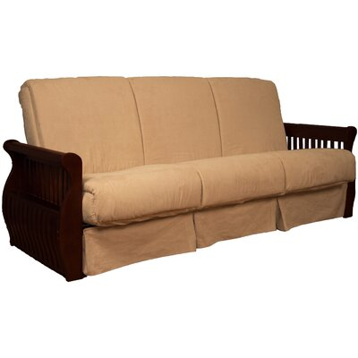 Concord Suede Sit N Sleep Futon and Mattress Size: Queen, Frame Finish: Mahogany, Upholstery: Khaki