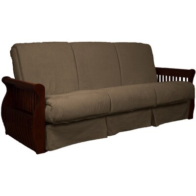 Concord Suede Sit N Sleep Futon and Mattress Frame Finish: Mahogany, Size: Queen, Upholstery: Mocha Brown