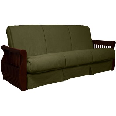 Concord Suede Sit N Sleep Futon and Mattress Size: Queen, Frame Finish: Mahogany, Upholstery: Olive Green