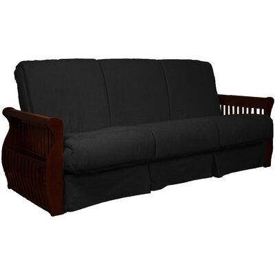 Concord Suede Sit N Sleep Futon and Mattress Size: Queen, Frame Finish: Mahogany, Upholstery: Dark Blue