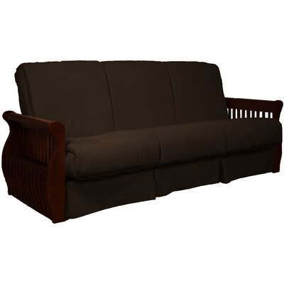 Concord Suede Sit N Sleep Futon and Mattress Frame Finish: Mahogany, Size: Queen, Upholstery: Chocolate Brown