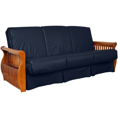 Concord Sit N Sleep Futon and Mattress Upholstery: Navy, Size: Queen, Frame Finish: Medium Oak