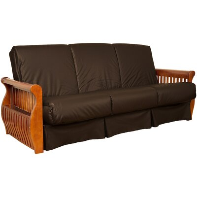 Concord Sit N Sleep Futon and Mattress Upholstery: Brown, Size: Full, Frame Finish: Medium Oak
