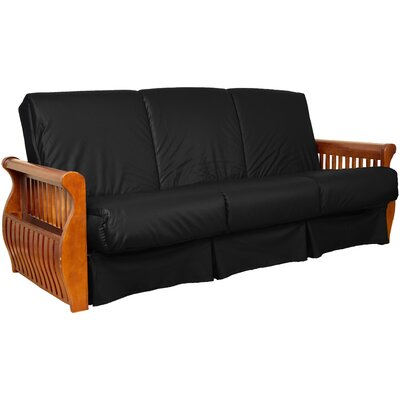 Concord Sit N Sleep Futon and Mattress Upholstery: Black, Size: Queen, Frame Finish: Medium Oak