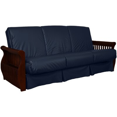 Concord Sit N Sleep Futon and Mattress Upholstery: Navy, Size: Queen, Frame Finish: Mahogany