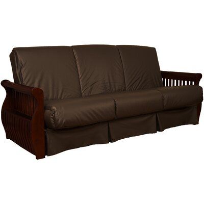 Concord Sit N Sleep Futon and Mattress Upholstery: Navy, Size: Queen, Frame Finish: Walnut