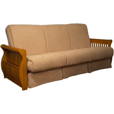Concord Suede Sit N Sleep Futon and Mattress Size: Full, Frame Finish: Medium Oak, Upholstery: Khaki