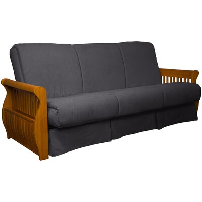 Concord Suede Sit N Sleep Futon and Mattress Frame Finish: Medium Oak, Size: Full, Upholstery: Slate Gray