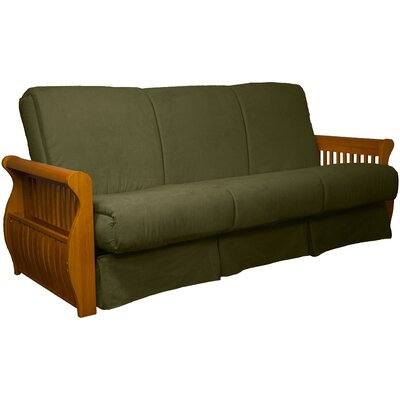 Concord Suede Sit N Sleep Futon and Mattress Frame Finish: Medium Oak, Size: Full, Upholstery: Olive Green