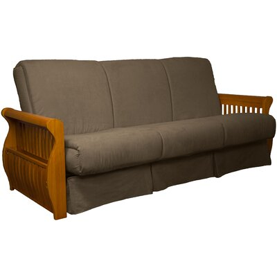Concord Suede Sit N Sleep Futon and Mattress Frame Finish: Medium Oak, Size: Full, Upholstery: Mocha Brown