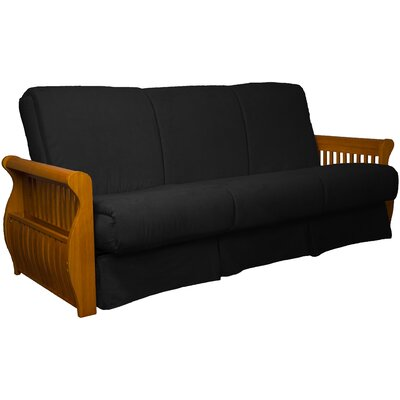 Concord Suede Sit N Sleep Futon and Mattress Frame Finish: Medium Oak, Size: Full, Upholstery: Ebony Black