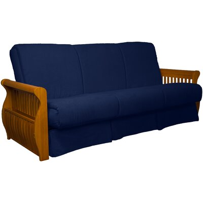 Concord Suede Sit N Sleep Futon and Mattress Size: Full, Frame Finish: Medium Oak, Upholstery: Dark Blue