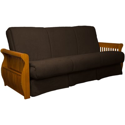 Concord Suede Sit N Sleep Futon and Mattress Size: Queen, Frame Finish: Medium Oak, Upholstery: Chocolate Brown