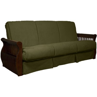 Concord Suede Sit N Sleep Futon and Mattress Size: Full, Frame Finish: Walnut, Upholstery: Olive Green