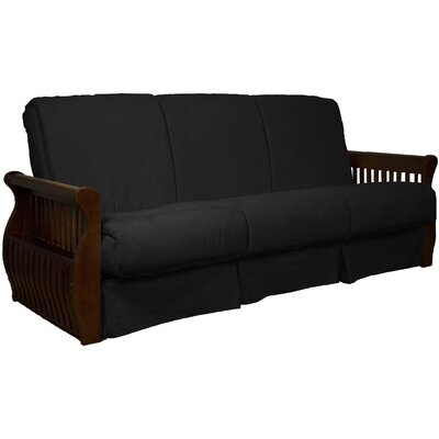 Concord Suede Sit N Sleep Futon and Mattress Frame Finish: Walnut, Size: Queen, Upholstery: Ebony Black