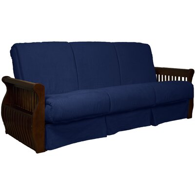 Concord Suede Sit N Sleep Futon and Mattress Frame Finish: Walnut, Size: Queen, Upholstery: Dark Blue