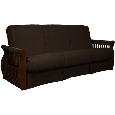Concord Suede Sit N Sleep Futon and Mattress Frame Finish: Walnut, Size: Full, Upholstery: Chocolate Brown