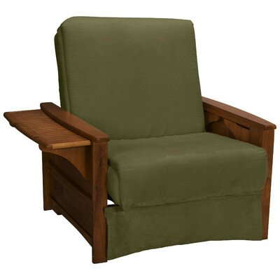 Valet Perfect Sit and Sleep Futon Chair Finish: Walnut, Upholstery: Suede - Olive Green
