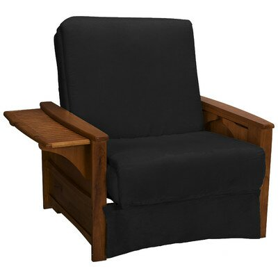 Valet Perfect Sit and Sleep Futon Chair Finish: Walnut, Upholstery: Suede - Ebony Black