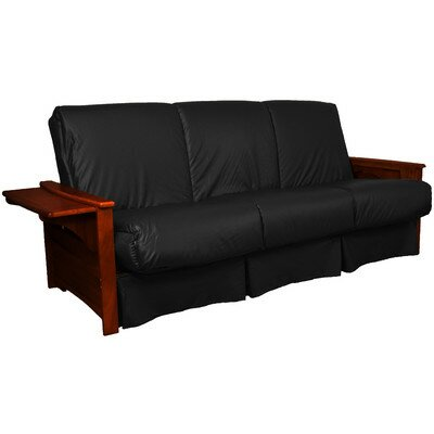 Valet Perfect Sit and Sleep Futon and Mattress Size: Queen, Finish: Mahogany, Leather Type: Faux Leather - Black