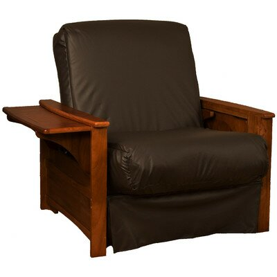 Valet Perfect Sit and Sleep Futon Chair Finish: Walnut, Leather Type: Faux Leather - Brown