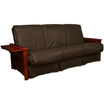 Valet Perfect Sit and Sleep Futon and Mattress Size: Full, Finish: Mahogany, Leather Type: Faux Leather - Brown