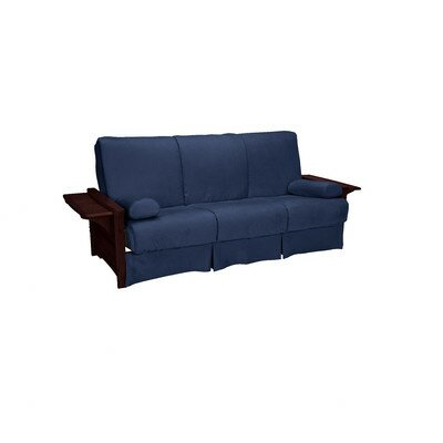 Valet Perfect Sit and Sleep Futon and Mattress Upholstery: Suede - Dark Blue, Size: Queen, Finish: Mahogany