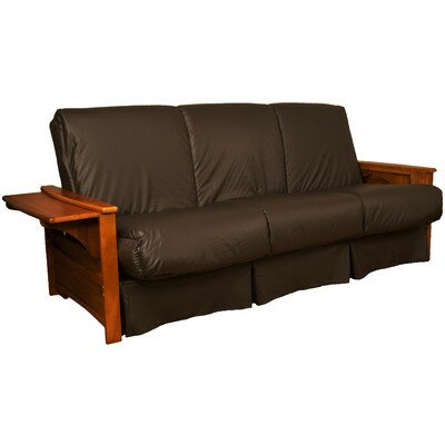 Valet Perfect Sit and Sleep Futon and Mattress Size: Queen, Finish: Walnut, Leather Type: Faux Leather - Brown