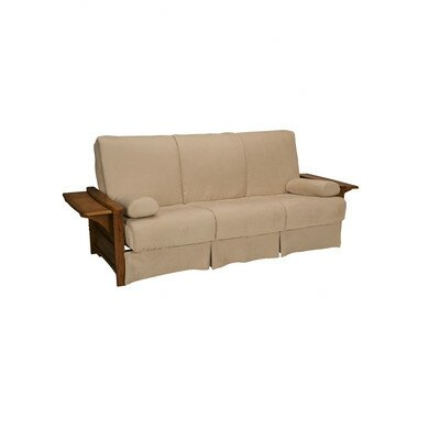 Valet Perfect Sit and Sleep Futon and Mattress Upholstery: Suede - Khaki, Size: Full, Finish: Walnut