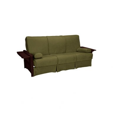 Valet Perfect Sit and Sleep Futon and Mattress Upholstery: Suede - Olive Green, Size: Queen, Finish: Mahogany