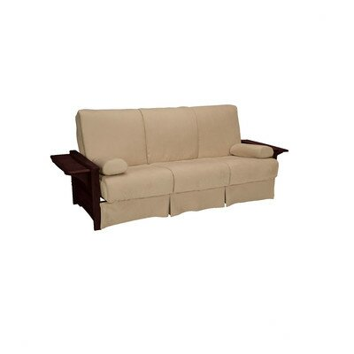 Valet Perfect Sit and Sleep Futon and Mattress Upholstery: Suede - Khaki, Size: Full, Finish: Mahogany