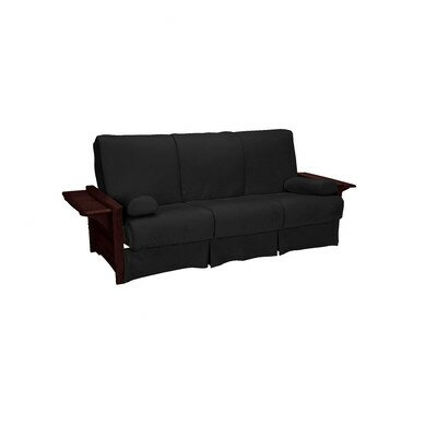 Valet Perfect Sit and Sleep Futon and Mattress Size: Full, Finish: Mahogany, Upholstery: Suede - Ebony Black