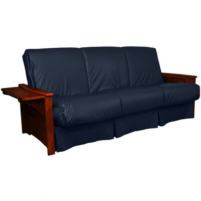 Valet Perfect Sit and Sleep Futon and Mattress Size: Queen, Finish: Mahogany, Leather Type: Faux Leather - Navy