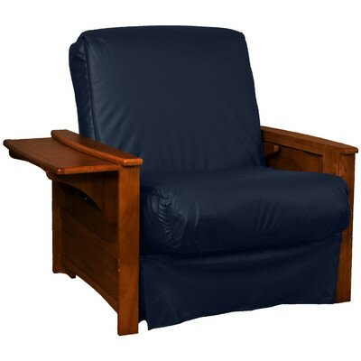 Valet Perfect Sit and Sleep Futon Chair Leather Type: Faux Leather - Navy, Finish: Walnut