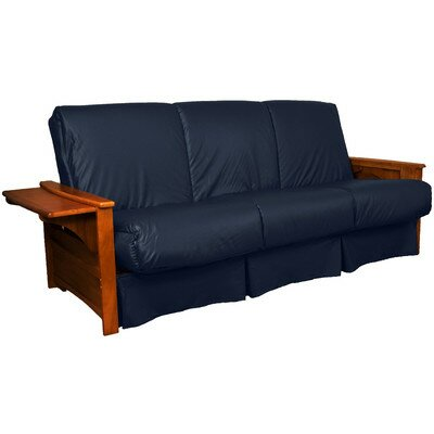 Valet Perfect Sit and Sleep Futon and Mattress Size: Full, Finish: Walnut, Leather Type: Faux Leather - Navy