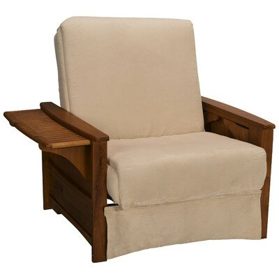 Valet Perfect Sit and Sleep Futon Chair Upholstery: Suede - Khaki, Finish: Walnut
