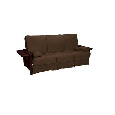 Valet Perfect Sit and Sleep Futon and Mattress Size: Full, Finish: Mahogany, Upholstery: Suede - Chocolate Brown