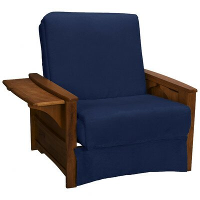 Valet Perfect Sit and Sleep Futon Chair Finish: Walnut, Upholstery: Suede - Dark Blue