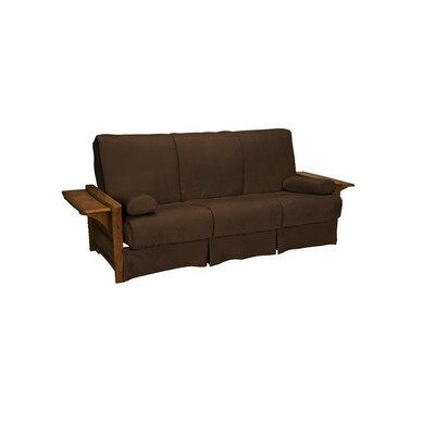 Valet Perfect Sit and Sleep Futon and Mattress Upholstery: Suede - Chocolate Brown, Size: Full, Finish: Walnut