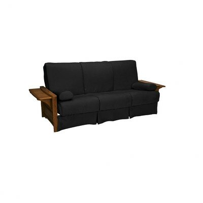 Valet Perfect Sit and Sleep Futon and Mattress Size: Queen, Finish: Walnut, Upholstery: Suede - Ebony Black
