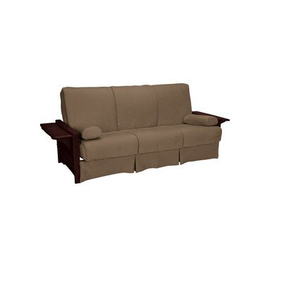 Valet Perfect Sit and Sleep Futon and Mattress Upholstery: Suede - Mocha Brown, Size: Queen, Finish: Mahogany