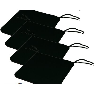 Outdoor Sunbrella Cushion Fabric: Raven Black, Size: 2H x 20W x 18D