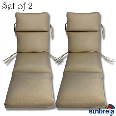 Outdoor Sunbrella Chaise Cushion Fabric: Taupe Rib