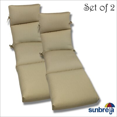 Outdoor Sunbrella Chaise Cushion Fabric: Herbal Vellum Rib
