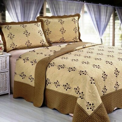 Embroidery Microfiber 3 Piece Reversible Quilt Set Color: Taupe / Beige, Size: Oversize Queen