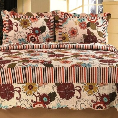 Natural Cotton Reversible 3 Piece Quilt Set