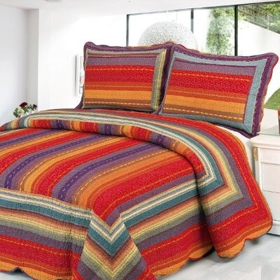 Stripe 2 Piece Twin Quilt Set Color: Sunset